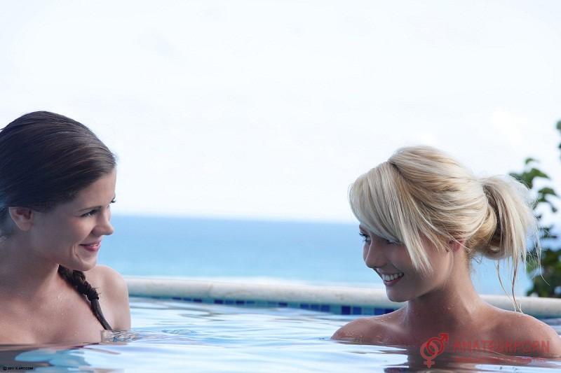 caprice pinky june pool threesome