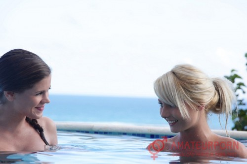 Little Caprice And Pinky June Beautiful Teen Threesome In The Pool