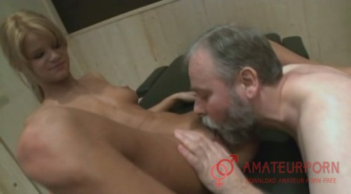 Amateur Old Man In Sauna With Two Young Teens